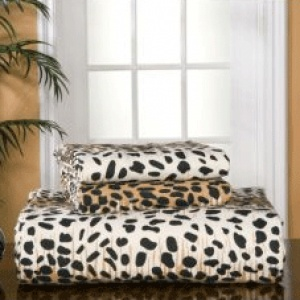 Pointe Haven Heavy Weight Cheetah Print Flannel 100% Cotton Sheet Set